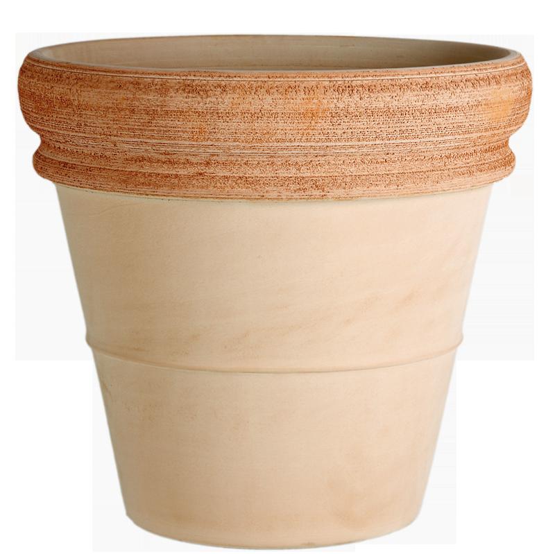 Vaso Doppio Bordo Terracotta Graffiata | Degrea: Produzione di vasi in terracotta